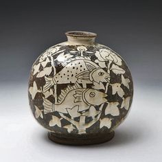 Two Fish Bottle Lee-Kang-hyo Korean pottery