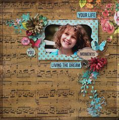 'Time has Flown' Layout by Geraldine Pasinati. Kaisercraft Products Used: Sticker Sheet , Paper Pad Collage Illustrate Impasto Lay… Scrapbook Blog, Kids Scrapbook, Vintage Scrapbook, Scrapbook Journal, Scrapbooking Layouts, Scrapbook Pages, Smash Book Pages, Kids Pages, Cardmaking