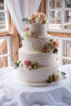 Rigid buttercream with monogram www.confectionperfectioncakes.com #atlantacakes #cakesmarietta #mariettasquare #weddingcake
