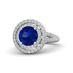 Round Sapphire Palladium Ring with Diamond | Eloise Ring (8mm gem) | Gemvara