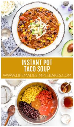 Spicy Instant Pot Taco Soup tastes just like a taco without the tortilla! It makes for a quick and tasty weeknight meal. #instantpottacosoup #tacosoup #instantpot #soup #mexicanrecipes Brunch Recipes, Soup Recipes, Easy Taco Soup, Homemade Tortilla Chips, Nutritious Breakfast, Vegetarian Soup, Slow Cooker Soup, Mexican Food Recipes, Healthy Recipes