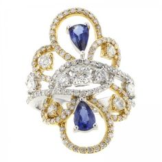 Pre-owned 18K Yellow & White Gold Sapphire & Diamond Women's Cocktail... ($3,417) ❤ liked on Polyvore featuring jewelry, rings, pre owned diamond rings, 18k diamond ring, sapphire diamond ring, diamond cocktail rings and white gold sapphire ring