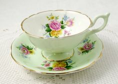 Foley Green Tea Cup and Saucer with Pink and Yellow Roses, Vintage English Bone China, Teacup and Saucer
