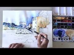 How to draw a landscape step by step and color the sketch with watercolor, Eckard Funck