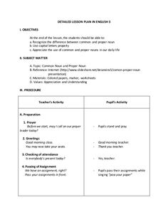 Proper Nouns and Common Nouns Detailed Lesson Plan Lesson Plan Examples, Lesson Plan Templates, Lesson Plans, Kids Calendar, School Calendar, Common And Proper Nouns, Weekly Planner Template, Social Skills Lessons, Power Of Attorney Form