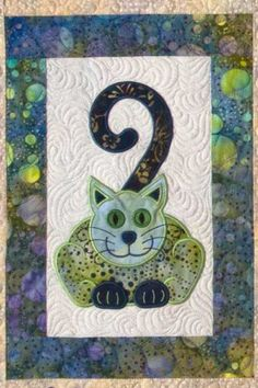 Cats Meow quilt with machine embroidery, design by Lunch Box Quilts