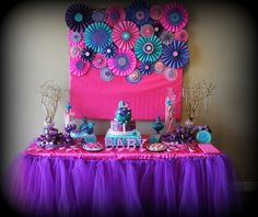 """Photo 8 of 23: Pink purple turquoise, It's a girl / Baby Shower/Sip & See """"Baby shower with touch of glamour"""" 