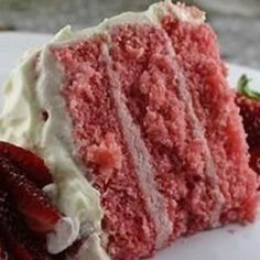 It is hard to find scratch strawberry cakes, so this one is worth it weight in gold to me as a caterer. Frost with cream cheese or vanilla frosting - or for a treat, use a chocolate glaze! # strawberry cake Strawberry Cake from Scratch Strawberry Cake From Scratch, Strawberry Cakes, Strawberry Recipes, Strawberry Puree, Strawberry Buttercream, Strawberry Shortcake, Homemade Strawberry Cake, Strawberry Glaze Recipe For Cake, Moist Cake Recipe From Scratch
