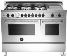 """Bertazzoni MAS486GGASXTX 48"""" Pro-Style Gas Range with 6 Sealed Brass Burners, 3.6 cu. ft. Main Convection Oven, Manual Clean, Griddle, Storage Drawer and Telescopic Glide Shelf"""