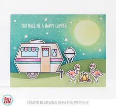 Avery Elle: Glamper Campers Flamingo Card by Melania Deasy.