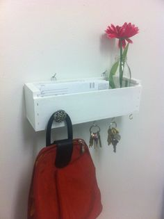 Wall Hanging Shelf, Wood Box Organizer, Key Holder Box, Home Decor, Up cycled. $28.50, via Etsy.
