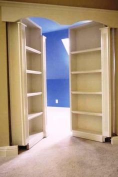 Install 2 bookcases to French doors so that you have a secret room.