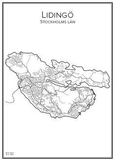 Lidingö. Stockholm. Sverige. Map. City print. Print. Affisch. Tavla. Tryck. Stadskarta.