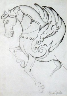 Mystical Horse - Pencil Drawing Horse Pencil Drawing, Pencil Drawings, Zentangle, Mystic, Sketch, Horses, Art, Sketch Drawing, Art Background