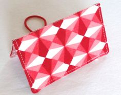 Red and Pink Geometric Business Card Holder or by ShastaBlue, $8.00