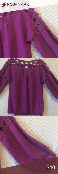 Max studio blouse Magenta  crochet detail  peasant sleeves elastic bottom as well as sleeves on trend for spring max studio specialty products Tops Blouses