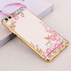 luxury gold soft luxury phone original flower diamond clear tpu silicon silicone coque cover case for huawei p10 p10 plus p 10