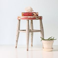A rough-around-the-edges rustic stool would be a happy addition to my home. #MaggiePate #InksandThread