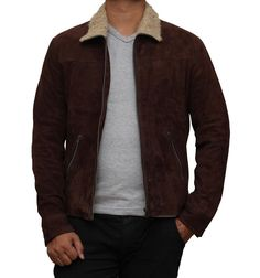 Brown Suede Jacket - Rick Grimes Leather Jacket at Amazon Men's Clothing store:
