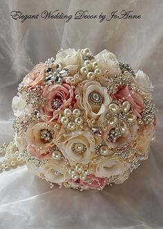 ELEGANT JEWELED BOUQUET - Deposit for a Custom Rose Pink and Ivory Jeweled Wedding Brooch Bouquet, Pink Bouquet, full price 450