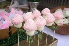 Toadstool cake pops. Enchanted forest wedding snack idea.