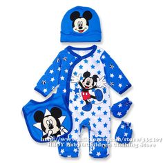 Brand D 4pcs/set Mickey Mouse Baby clothing sets Boys Rompers Bodysuits Overalls Bibs Gloves Hats Blue Newborn Spring summer2014 US $18.90