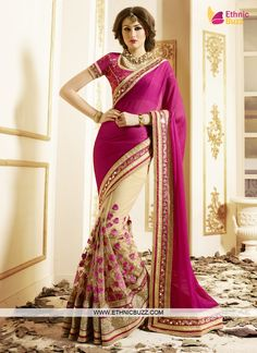 Forever Dark Pink Border Patch Work Designer Saree