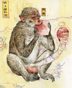 monkey by Mu Pan Esoteric Art, Monkey, Painting, Monkeys, Painting Art, Paintings, Painted Canvas