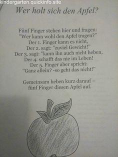 Finger game about apple - Wald Kindergarten Activities, Activities For Kids, Finger Games, Kindergarten Portfolio, Kids Poems, Learn German, Special Education, Kids And Parenting, Diy For Kids
