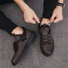 7ee80815e0e7ab Men Lace Up Board Shoes Casual Comfort Hiking Sneakers Sport Driving Shoes  New