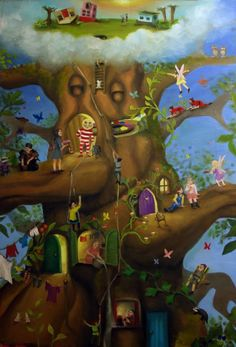 The Faraway Tree Collection (The Enchanted Wood, The Magic Faraway Tree, and The Folk of the Faraway Tree) ~ Enid Blyton The Magic Faraway Tree, Garden Mural, Enchanted Wood, School Murals, Enid Blyton, Tree Illustration, Illustration Children, Magic Symbols, Bedroom Murals