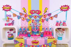 Title: Retro Superhero Girl Birthday Party Theme - B79 II To find the invitations, packages, and individual items for this theme, please visit: www.LeeLaaLoo.com