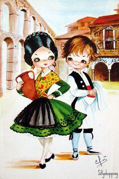 Big Eyes Paintings, Cute Paintings, Vintage Girls, Vintage Children, Vintage Art, Cartoon Pics, Cute Cartoon, Little Girl Illustrations, Creation Photo