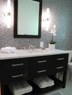 Love everything about this. Dark cabinets. White counter. Tile wall. Just needs a double sink!!