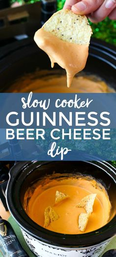 Slow Cooker Guinness Beer Cheese Dip is a bold Irish beer flavored cheese dip that is perfect for your game day party or St. Patrick s Day festivities! - Slow Cooker - Ideas of Slow Cooker Beer Recipes, Irish Recipes, Slow Cooker Recipes, Crockpot Recipes, Cooking Recipes, Guinness Recipes, Slow Cooker Dips, Slow Cooker Appetizers, Chilis Restaurant Recipes