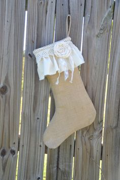 Christmas Stocking Burlap and Vintage Lace with by LolaAndBea, $16.00
