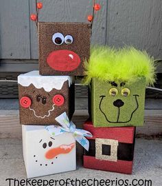 Christmas Craft Blocks – The Guardian of the Cheerios – Christmas Crafts Christmas Wood Block Crafts, Christmas Crafts To Sell Handmade Gifts, Halloween Crafts To Sell, Christmas Squares, Christmas Projects, Kids Christmas, Holiday Crafts, Christmas Blocks, Christmas Gifts