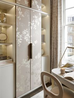 The feminine study at our recent Kensington project. Sliding cupboard doors with bespoke hand painted wallpaper in the softest blush pink framed with a solid antique brass trim Wardrobe Door Designs, Wardrobe Design Bedroom, Bedroom Furniture Design, Wardrobe Doors, Modern Wardrobe, Wardrobe Closet, Wardrobe Ideas, Bedroom Decor, Interior Design London