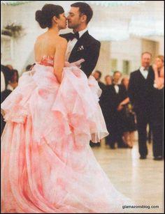 bridal trend I love - pink wedding gowns!  http://mrsandthemisc.com/2013/01/14/bridal-trend-im-loving-in-2013-pale-pink-wedding-gowns/# justin timberlake, jessica biel