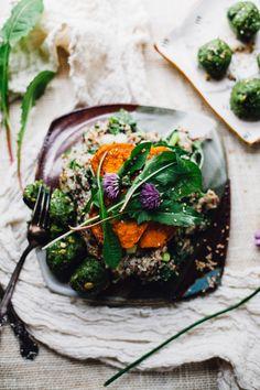 dandelion green quinoa risotto with raw hemp falafel & maple paprika caramelized sweet potatoes (vegan & gluten free)