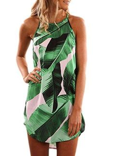 Adogirl Cheap Green Leaf Print Mini Dress O Neck Sleeveless Casual Bohemian Summer Dresses Women Fashion Beach Dress Vestidos. Short Sundress, Very Short Dress, Cap Dress, Cosplay Dress, Mode Style, Cute Outfits, Summer Dresses, Mini Dresses, Short Dresses