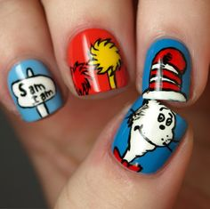 cat-in-the-hat nail art