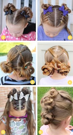 Easy Girls Hairstyles For Toddlers, Tweens & Teens - what moms love Over 100 of the best easy girls hairstyles for toddlers to tweens & teens. Fun braids, ponytails, pigtails, half up & buns for school or fancy occasions. Easy Little Girl Hairstyles, Girls Hairdos, Cute Hairstyles For Kids, Hairstyle For Kids, Halloween Hairstyles, Braids For Girls Hair, Hair For Little Girls, Hairstyles For Short Hair Easy, Hair Dos For Kids