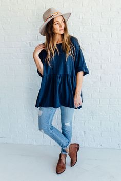 Oversized Peplum in Blue | Clad & Cloth Apparel