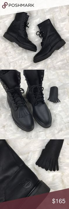 Reyme • Mexican Kiltie Leather Hi-Top Boots NWOT! Very sturdy construction, like worker boots! Toe shell is strong, someone could step on your feet and you'd probably would feel a thing. Removable Kiltie. Reyme Shoes Combat & Moto Boots