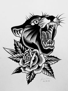 Traditional Tattoo Black And White, Traditional Panther Tattoo, Traditional Tattoo Old School, Traditional Tattoo Design, Traditional Tattoo Flash Art, Traditional Heart Tattoos, Traditional Tattoo Sketches, Traditional Tattoo Inspiration, Traditional Tattoo Woman