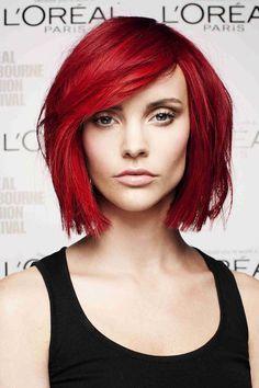 Ideas For Hair Color Bright Red Bangs Ideas For Hair Color Bright Red Bangs Bright Hair Colors, Red Hair Color, Cool Hair Color, Pretty Hairstyles, Bob Hairstyles, Pinterest Hairstyles, Red Bob Hair, Red Bangs, Super Hair