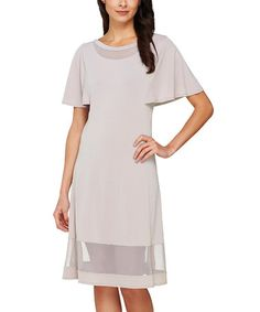 Another great find on #zulily! Sterling Mesh-Insert Flutter-Sleeve Sheath Dress - Plus Too #zulilyfinds