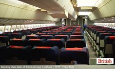 Economy Class Cabin of British Airways Lockheed L-1011 Tristars