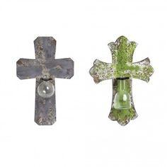 Wall Vase Crosses, Set of 2 - Wall Art - Home Décor